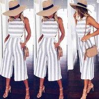 8fda0cb82b05 Compra Women Sleeveless Striped Jumpsuit Casual Clubwear Wide Leg Pants  Outfit en Wish- Comprar es