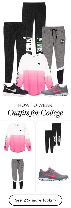 """Run, anyone??"" by mycl0set on Polyvore featuring Victoria's Secret, NIKE, women's clothing, women, female, woman, misses and juniors"