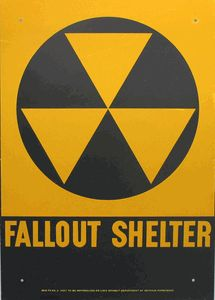 1960s Vintage Fallout Shelter Metal Sign