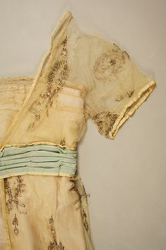 Evening dress Lucile  (British, 1863–1935)   Date: ca. 1913 Culture: British Medium: silk, cotton, glass, plastic. Detail