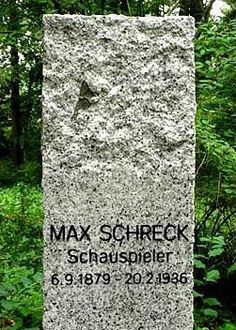"Max Schreck - Actor. He was a member of Max Reinhardt's celebrated troupe of actors. He made his film debut in ""Der Richter Von Zalamea."" Most famous for his role as Count Orlok in F.W. Murnau's ""Nosferatu; Eine Symphonie Des Grauens."" Coincidentally, Max Schreck is German for ""Maximum Terror"" (Max played many horror roles). Appeared in ""Der Tunnel"" and many other films. He was married to an actress named Fanny Norman."