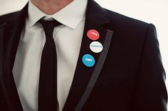 Love, honor, and obey buttons for the groom. Cute. | Anne-Marie and Nick's Stephouse Wedding