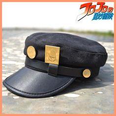 Anime JoJo's Bizarre Adventure Kujo Jotaro Cosplay Hat+Metal Badge Topee Gift