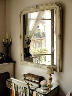 Antique White Interiors-  I love this shabby chic mirror