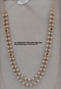 Jewelry OFF! 2 rows pure pearl chain with side lockets. Visit us for full range Pearl Necklace Designs, Jewelry Design Earrings, Gold Earrings Designs, Gold Haram Designs, Pearl Necklace Set, Simple Necklace, Gold Bangles Design, Gold Jewellery Design, Bridal Jewelry