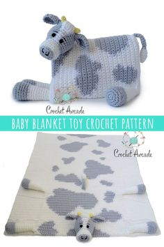 Cuddle and Play Cow Baby Blanket Crochet Pattern is the best one I did so far, i. - Nicki's Homemade Crafts - Free Crochet Patterns & Tutorials Cuddle and Play Cow Baby Blanket Crochet Pattern is th Crochet Cow, Manta Crochet, Crochet Baby Booties, Cute Crochet, Easy Crochet, Crochet Animals, Crochet Ideas, Kids Crochet, Crochet Projects