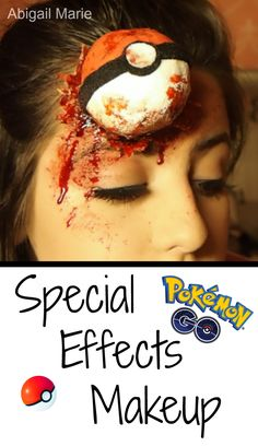 Pokemon Go Halloween makeup? special effects makeup tutorial! Pokemon go is a supper fun and popular game so I wanted to make an easy how to on this poke ball head wound. #makeup #Halloween #pokemongo