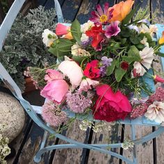 Chilly Root Peony Farm bouquet, garden herbs and flowers.  @sunsetmag.