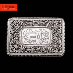 ANTIQUE 19thC GEORGIAN SOLID SILVER LARGE CASED TABLE SNUFF BOX, STRACHAN c.1817
