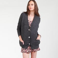 Oversized Granny Cardigan  $39.99  Style #: 61260  Long sleeve oversized button down cardigan with two front pockets.