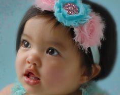 Diadema bebé diadema de Marfil shabby baby chic por SAVANIboutique