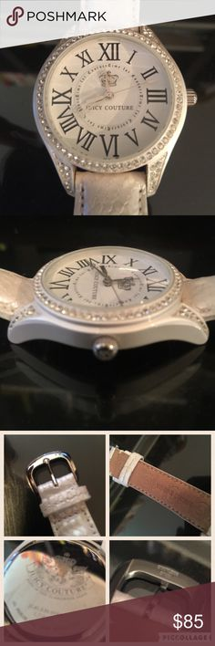 "Juicy couture white genuine leather watch jeweled Excellent condition. Only worn two times and it's been sitting. Just needs new batteries. Strap is genuine leather, white ""snake"" skin. No missing jewels, no scratches or marks. Beautiful watch I received as a gift but I don't wear watches Juicy Couture Accessories Watches"