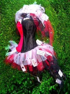 Queen of Hearts Wonderland Inspired Costume White Red and Black Tutu Corset Set Fancy Dress  Fun. via Etsy.
