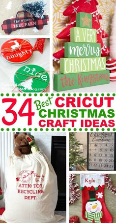 These are 34 of the best Cricut Christmas craft ideas put together by Soccer Mom Blog! These ideas are easy to make and are great to give away as gifts for Christmas. Try making any of these great craft projects to decorate your home this holiday season! #holiday #christmas #cricut #crafts