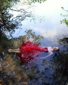 Red Dress in the Water / #water #art #photography