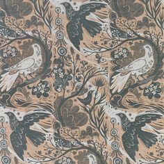 Doveflight by Mark Hearld is a 2 colour design, screen printed in the UK onto a heavyweight linen union | St. Jude's Fabrics