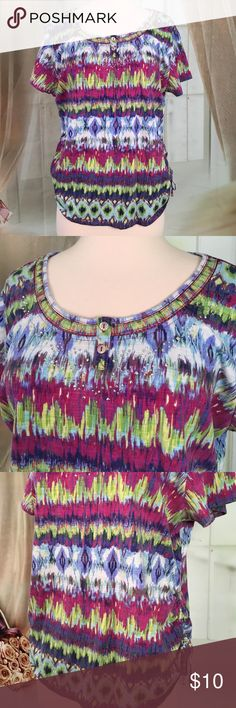 """Gloria Vanderbilt Multi Colored Short Sleeved Top Very cute short sleeve multi colored top. Embellished along the neckline. Cute ties on the sides. New condition. Size L. Bust 38 and length 24"""".  All measurements are approximate. Offers always welcome.  TP52 LOC-6 Gloria Vanderbilt Tops"""