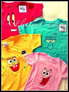 SpongeBob and Friends Hand Painted Shirt by EliannasCreations
