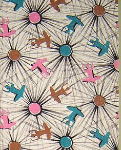 Fanciful Figural 1950's Fabric Panel - Yoga Figures - Vintage Fabric Material on Ruby Lane