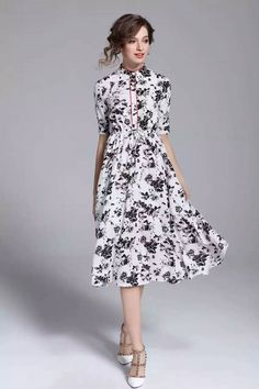 Black / White Half Sleeved Boutique Dress
