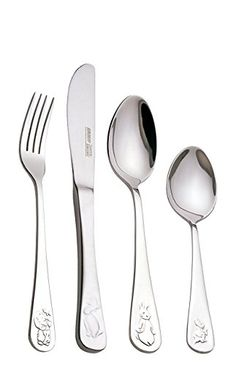 BergHOFF 4 Piece Children's Line Baby Flatware Set, Silver
