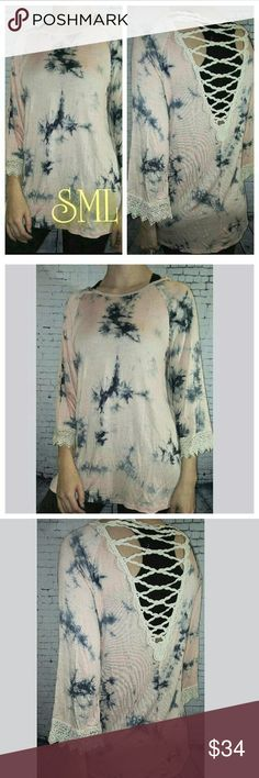 Boutique Crochet Tye-dye Top Open crochet back detail  tie dye top Silky soft Made in the USA.  95% polyester 5% spandex  Pw2016-11 Tops