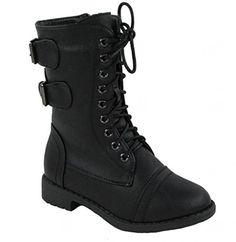 Lace up combat boots for girls. Would be perfect for a Disney Descendants Evie or Mal costume.