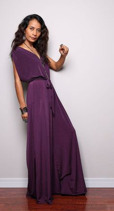 86e1f2b57e51 Jumpsuit - Purple Jumper Maxi Dress with Kimono Top   Chic   Casual  Collection