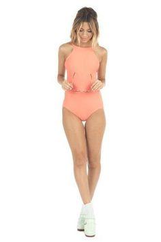 top coral full coverage halter top lolli swimwear monokini one piece orange