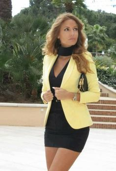 Little black dress instantly looks more put together with a pop of a colored blazer