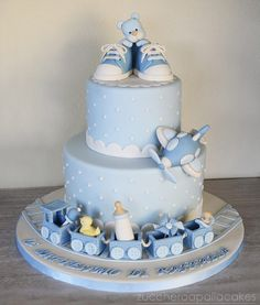 Christening Cake For Baby Boy Torta Baby Shower, Baby Shower Cakes For Boys, Baby Boy Cakes, Baby Shower Parties, Shower Party, Gateau Baby Shower Garcon, Christening Cake Boy, Cake For Baptism Boy, Teddy Bear Cakes