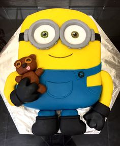 Bob the Minion (with teddy Timmy) birthday cake