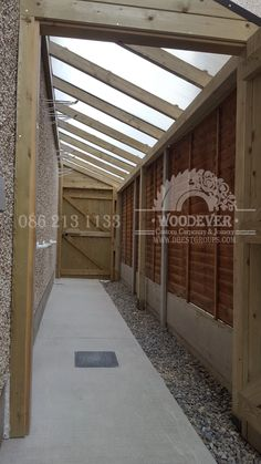 Side entrance passageway with roof, rain shelter, safe, secure bike or toy storage at side of house Extension Veranda, Side Walkway, Lean To Conservatory, Rain Shelter, Bike Shelter, Shed Storage, Storage Area, Toy Storage, Garden Bike Storage