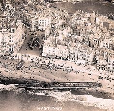 Following WWI surrender the Imperial German Navy Submarine U-118 was to be transferred to France where it would be broken up for scrap. However, in the early hours of 15 April 1919, while it was being towed through the English Channel, its dragging hawser broke off in a storm. The ship ran aground on the beach at Hastings in Sussex at approximately 12:45am, directly in front of the Queens Hotel.