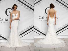 Galia Lahav Fall 2015 blush mermaid wedding dress, lace trumpet gown, mermaid bridal dress with sexy backless, sheath/colum gown...