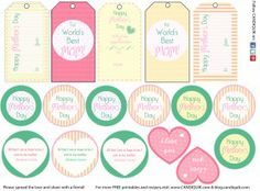 FREE Printable gift tags, cake pop tags, cupcake toppers, etc. For Mother's Day, Bday, Graduation, etc. Please share the love by following @CandiQuik!