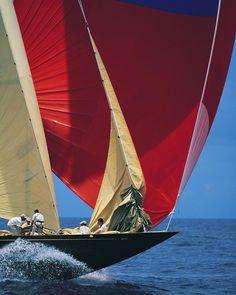 The J Class sloop Velsheda drops the genoa during the Antigua Classic Yacht Regatta. Classic Sailing, Classic Yachts, Sailing Pictures, Sail Racing, Sailboat Racing, J Class Yacht, Sailing Trips, Sailing Boat, Nautical Prints