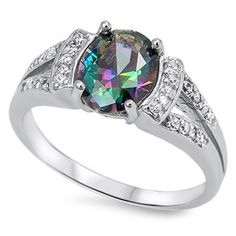 Sterling Silver Multi Faceted Rainbow Topaz Design Solitaire Ring Sz 5-10 104568123456