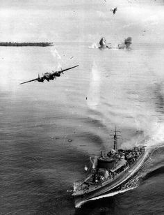 American B25 bombers attack Japanese war ships somewhere in the pacific during WWII. 16 Feb 1944. [800x1046]