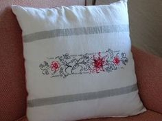 Luxury hand painted linen cushion cover. www.elenaromero.tictail.com