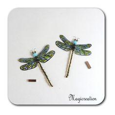 MAGNETS LIBELLULES TRANSPARENTES BLEU VERT-DEMOISELLE - Boutique www.magicreation.fr