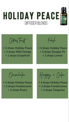 Holiday peace blends Coconut Essential Oil, List Of Essential Oils, Essential Oil Diffuser Blends, Essential Oil Uses, Easential Oils, Doterra Essential Oils, Holiday Peace Doterra, Essential Oil Combinations, Diffuser Recipes