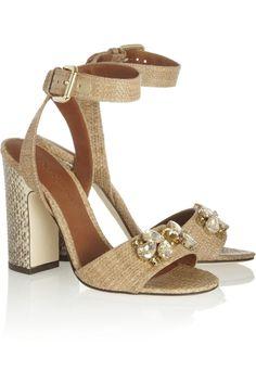 Dolce & Gabbana|Embellished raffia and ayers sandals|NET-A-PORTER.COM