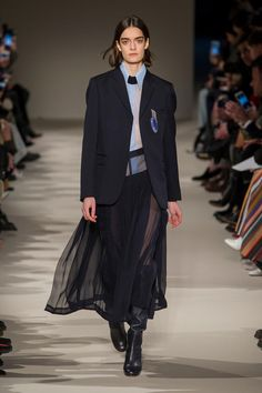 Victoria Beckham: It's a challenge to make menswear pieces feel feminine and sexy, but leave it to Victoria Beckham to find a way to do it. Her fall 2017 collection was built for breaking into the boys club, with oversized suiting, sharp brogues and slinky knits leading the way. The addition of slouchy leather boots and opera-length leather gloves certainly upped the sex appeal as well. —Tyler.
