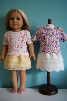 Super easy Layered trim skirts for 18-inch doll by nest full of eggs Links for other tutorials as well!