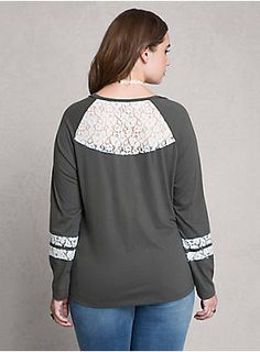 """<p>Having trouble committing to your tomboy tees? We added romantic white lace insets to the sleeves and back of this olive green knit, and suddenly we're catching some major feelings for the raglan style.</p><BR><p><b>Model is 5'11"""", size 1</b></p><ul><li style=""""LIST-STYLE-POSITION: outside !important; LIST-STYLE-TYPE: disc !important"""">Size 1 measures 28 1/4"""" from shoulder</li><li style=""""LIST-STYLE-POSITION: outside !important; LIST-STYLE-TYPE: disc !important"""">Cotton/polyester/nyl"""