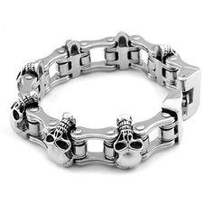 Hpolw 23mm Width Skull Bracelet 316L Stainless Steel Big Heavy Men Bracelet Biker Motorcycle Hand Chain Men's Jewelry Rings, Skull Jewelry, Gothic Jewelry, Chain Jewelry, 9ct Gold Bracelet, Skull Bracelet, Men's Accessories, Hand Chain, Viking Jewelry