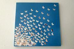 diy fliegend moderne Leinwandbilder blau schmetterlinge