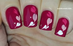 Life World Women: Dark Pink Nails With Hearts For Valentine's Day