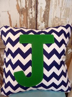 navy chevron initial pillow cover without insert by bumbletees